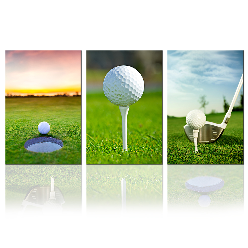 Sports Canvas Painting 3 Piece Golf Wall Art Prints Ball Picture for Home Decor Golf Course Scenery Green Lawn Landscape Artwork