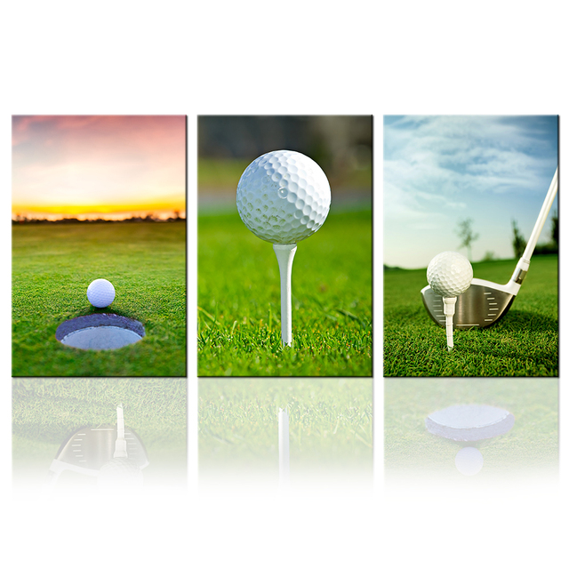 Sports Canvas Painting 3 Piece Golf Wall Art Prints Ball Picture For Home Decor  Golf Course