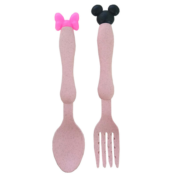 fork and spoon pink