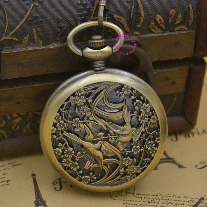 cb65bfa3656 Atacado Relógio de Bolso Mecânico homens homem pássaro fob relógios  steampunk bronze romano antigo retro vintage Elegante Vento mão boa