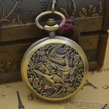 wholesale Mechanical Pocket Watch men bird man fob watches steampunk bronze roman antique vintage retro Stylish hand Wind good