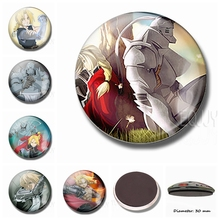 Fullmetal Alchemist Magnetic Refrigerator Magnets Japanese Animation 30 MM Fridge Magnet Glass Dome Ornaments Sticker