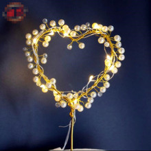 Heart shaped  Sparkle Pearl Rhinestone Cake Topper Wedding Princess decoration