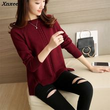 2018 Women Pullover Female Sweater Fashion Autumn Winter Warm Casual Loose Knitted Tops Xnxee