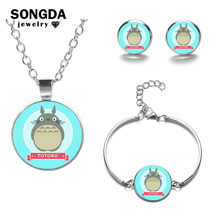 SONGDA Miyazaki Totoro Jewelry Sets Anime Movie Poster 3D Print Crystal Glass Stud Earrings Bracelet Necklace Set Kids Jewellery(China)
