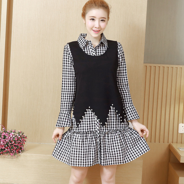 62055ff5cf783 2018Female Spring twinset Dress turn down collar Plaid shirt dress+beaded  tank tops casual vestido