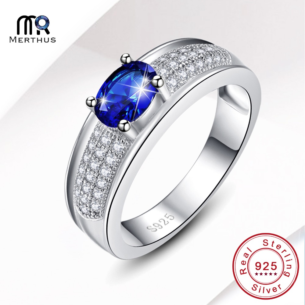Fashion Oval Cut Blue Zircon Crystal 100 925 Sterling Silver Chunky Wedding Ring For Woman With