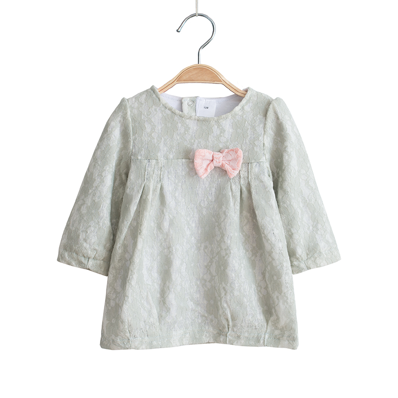 Flowers Lace Kids Baby Girl Dress Costume Cotton Long Sleeve Casual Straight Dresses Bow Children Girls Clothing