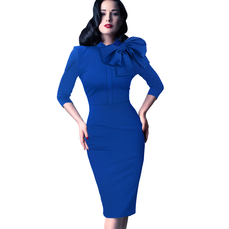 ce1920657d248 Vfemage Womens Elegant 1950s Vintage Pinup Retro Rockabilly 3/4 Sleeve Bow  Party Work Sheath Bodycon Wiggle Pencil Dress 1069