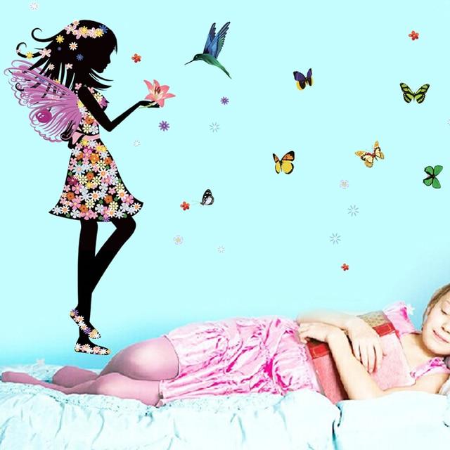 Angel wings butterflies beautiful girl wall decal home sticker paper angel wings butterflies beautiful girl wall decal home sticker paper art picture diy murals kids nursery voltagebd Images