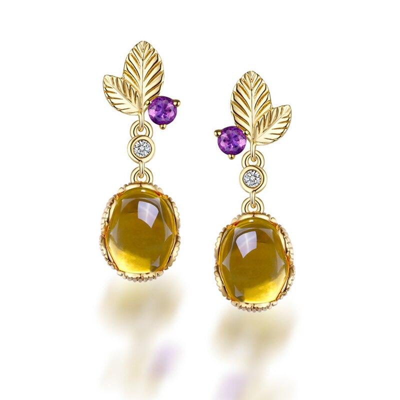 ANI 925 Sterling Silver Women Natural Citrine Drop Earrings Fine Oval Cut Gemstone Jewelry Leaves Shape Fashion Dangle Earrings pair of vintage faux gemstone oval water drop earrings for women