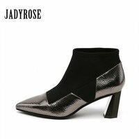 Jady Роза 2019 повседневная женская обувь зимние стрейч ткани носки ботильоны Гладиатор странные Обувь на высоких каблуках Для женщин туфли ло