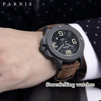 47mm Parnis black dial sapphire glass date adjust PVD Case Luminous 21 jewels Miyota Automatic self wind movement Men's Watch