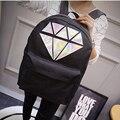 Women Canvas Backpack School Bags Holographic Silver Diamond Solid Teenage Girls Female Men Laptop Sale waterproof brand Mochila