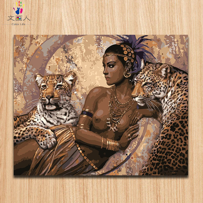 Coloring By Numbers Elegant Dark Skin Woman And Leopards,African Tribes Character Oil Painting By Numbers Cancas Paint With Kits