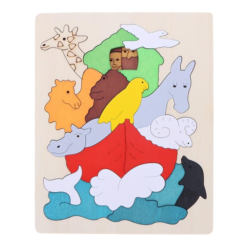 Деревянные головоломки Игрушечные лошадки дети мультфильм животных Автобус multi-мерного головоломки Паззлы детей Обучающие игрушки обучен...