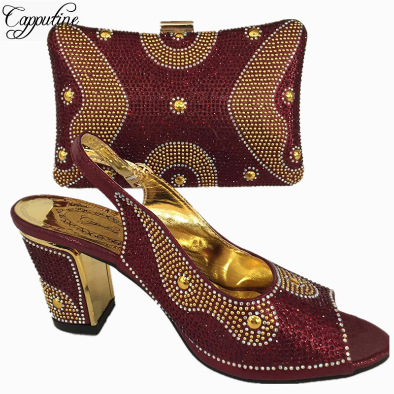 Capputine Wine Color African Shoes And Bag Set Decorated With Rhinestone Nigerian Women Wedding Shoes And Bag Set 6Colors BL765C doershow african women talian shoes and bag set ladies italian shoe and bag set decorated with rhinestone nigerian party bb1 1