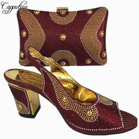 Capputine Wine Color African Shoes And Bag Set Decorated With Rhinestone Nigerian Women Wedding Shoes And Bag Set 6Colors BL765C