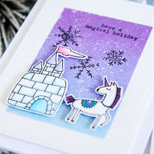 Eastshape Unicorn Ice Castle Clear Stamps Metal Cutting Dies New 2019 for Scrapbooking Rubber Card Making