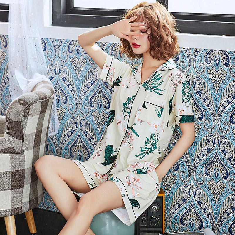 Fashion Women 2018 Spring Summer NightWear Leisure Home Cloth Short Sleeve Full Cotton Pajamas Sets Women Girl Sleepwear Suit