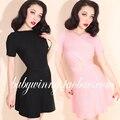 Винтаж дворец 2015 осенью новый вязаный свободного покроя розовый черные платья женщин мода сексуальная теплая платье многоцелевой бесплатная доставка