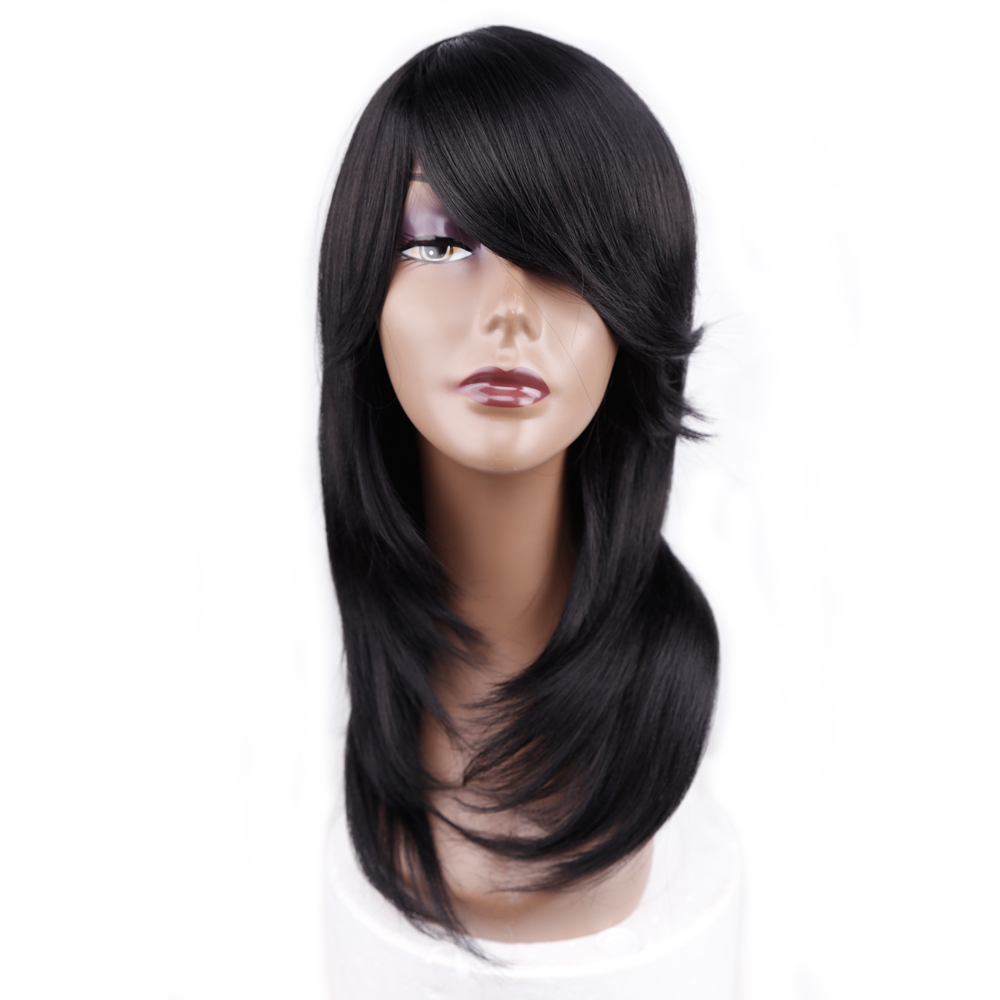 Amir Medium Length Straight Synthetic Wig For Women Natural Ombre Black To Red Color Hair With Bangs Heat Resistant 网 红 小 姐姐