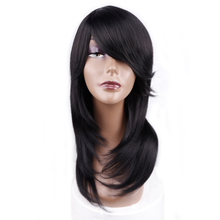 Amir Medium Length Straight Synthetic Wig For Women Natural Ombre Black To Red Color Hair With Bangs Heat Resistant