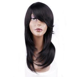 Image 1 - אמיר בינוני אורך ישר סינטטי פאה עבור נשים טבעי Ombre שחור כדי אדום צבע שיער עם פוני חום עמיד