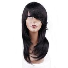 Parrucca sintetica diritta di media lunghezza Amir per donna capelli naturali da nero a rosso Ombre con frangia resistente al calore