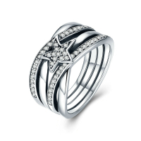 New Brilliant Star Twisted Statement Finger Ring 100 925 Sterling Silver With Clear CZ For Woman