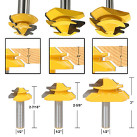 3pcs 45 Degree Lock Miter Router Bits 2 Flutes 1 2 Shank Glue Joint Woodworking Milling