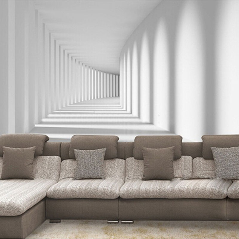 Custom mural wallpaper 3d abstract modern passway mural for Wallpaper designs for living room wall
