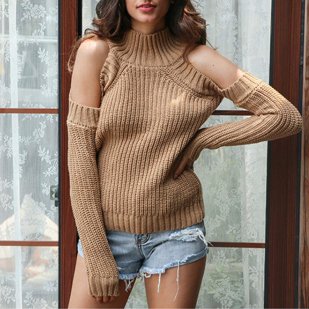 2020 New Women Sweater Pullover Long Sleeve Cold Shoulder Ladies Plus Size Knitted Sueter Mujer Invierno winter clothes