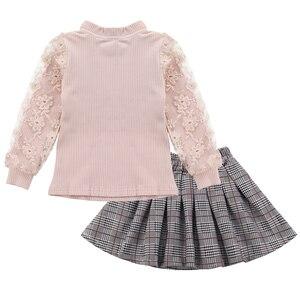 Image 2 - ملابس للبنات الدانتيل كم البلوز + منقوشة فستان 2 قطعة ملابس الفتيات المراهقات ملابس كاجوال للأطفال 6 8 10 12 13 سنة