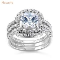 New 1 8 Ct Stunning CZ Genuine 925 Sterling Silver 3 Pcs Halo Wedding Ring Sets