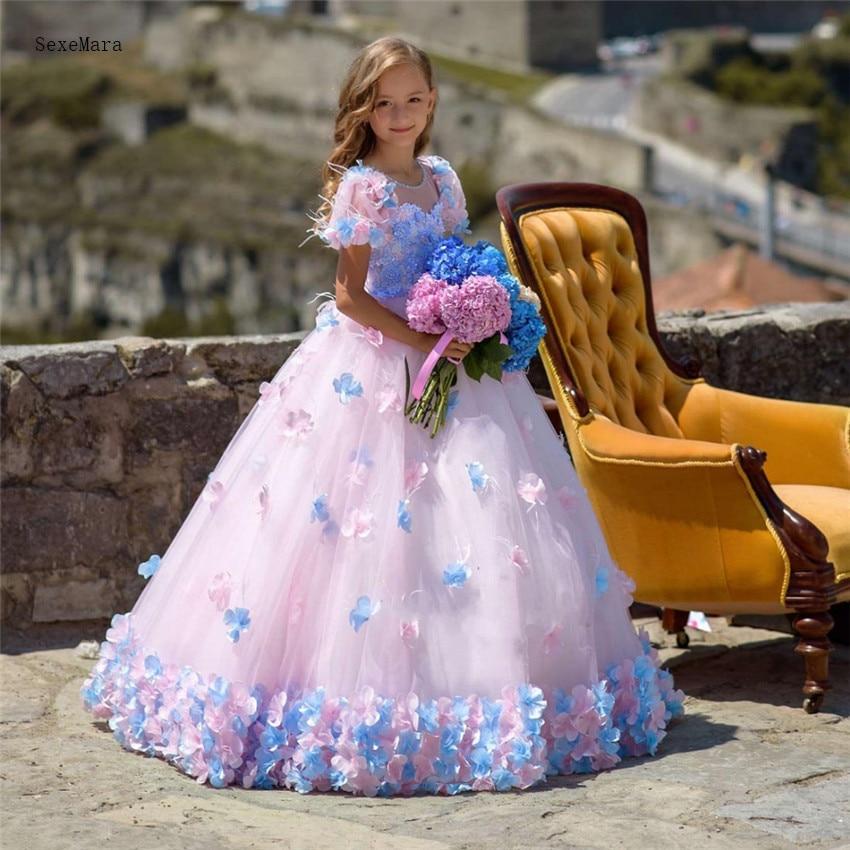 Flower Girl Gowns: Luxury And Beautiful Princess Dress 3D Handmade Flowers