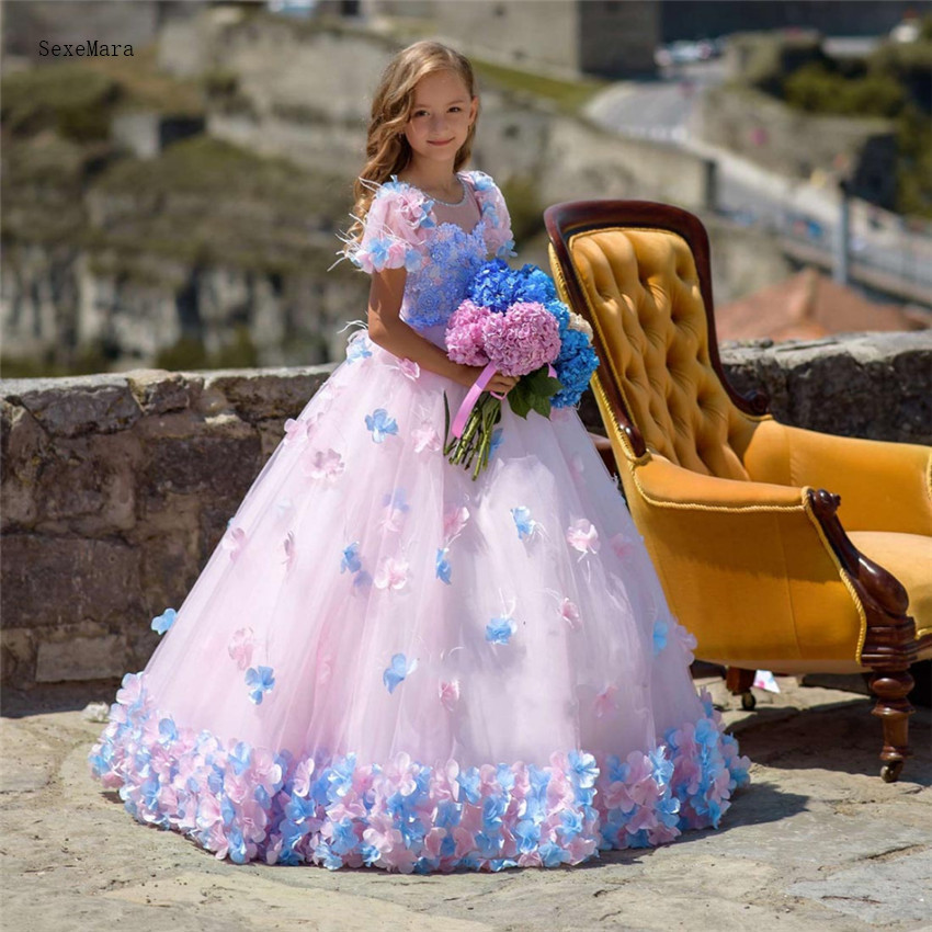 Luxury and Beautiful Princess   Dress   3D Handmade   Flowers   Pink Lovely   Flower     Girl     Dress   For Birthday Weddings Pageant Gowns Custom