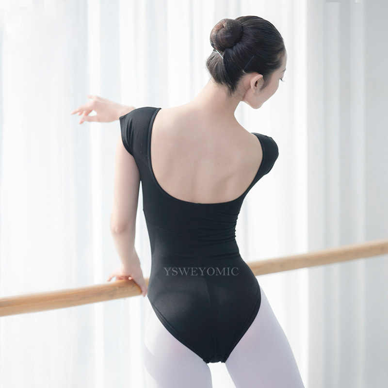 2019 High Quality Adult Girls Ballet Dance Wear Bodysuit Black Cotton Mesh Gymnastics Leotard Larger Size Ballet Leotard Women