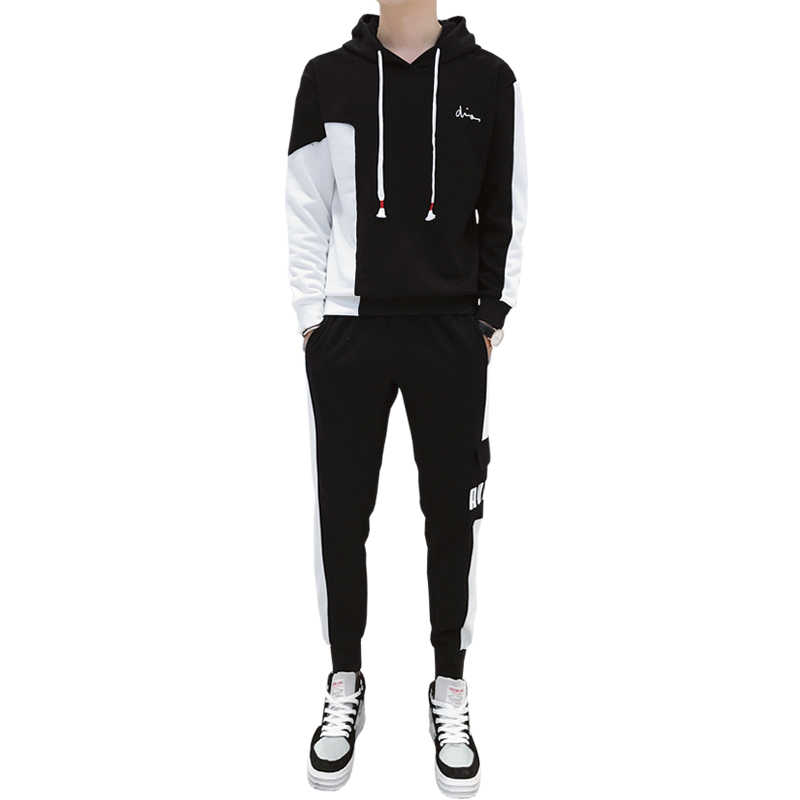Men's Pullover Drawstring Waistband Tracksuit Men Patchwork 2 Piece Tracksuit Athletic Sweatshirt Suit and Pants Jogger Set