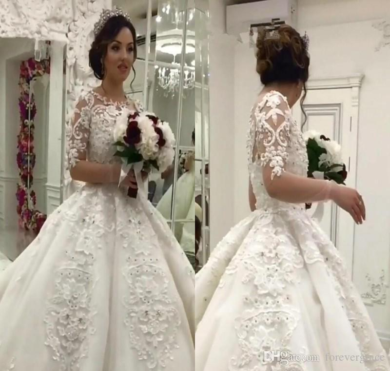 2019 Dubai Arabic Wedding Dresses Lace Appliques Off: 2019 Vintage Arabic Dubai Princess Wedding Dress Long