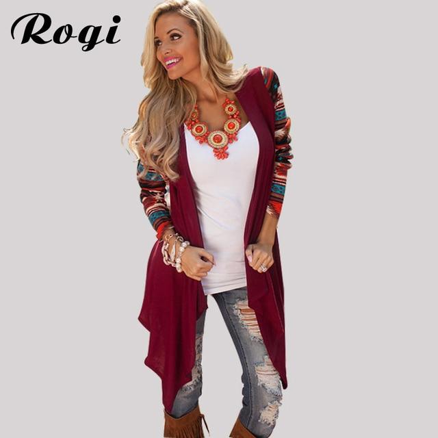 a40b04dcf1 Rogi Long Cardigan Women 2019 Fashion Long Sleeve Aztec Striped Knitted  Sweater Coat Asymmetrical Shirt Outerwear Poncho Women
