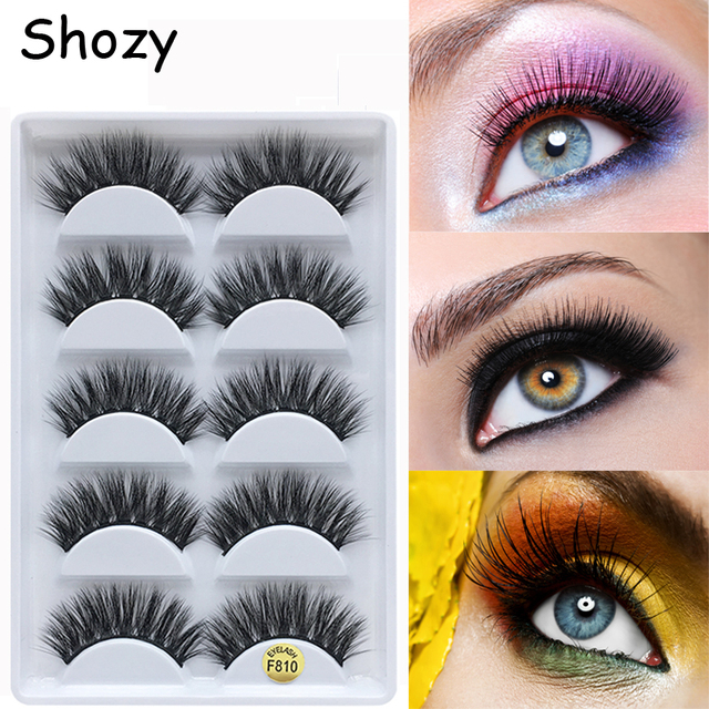 Shozy 5 pairs faux mink false eyelashes handmade 3D eyelashes natural long thick makeup fake eyelashes extension-F810
