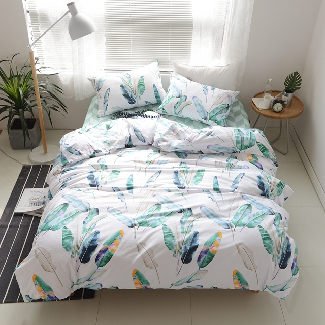 Green Feather Printed Duvet Cover Set 100% Cotton Green Bed Sheets Pillow  Case Twin Queen