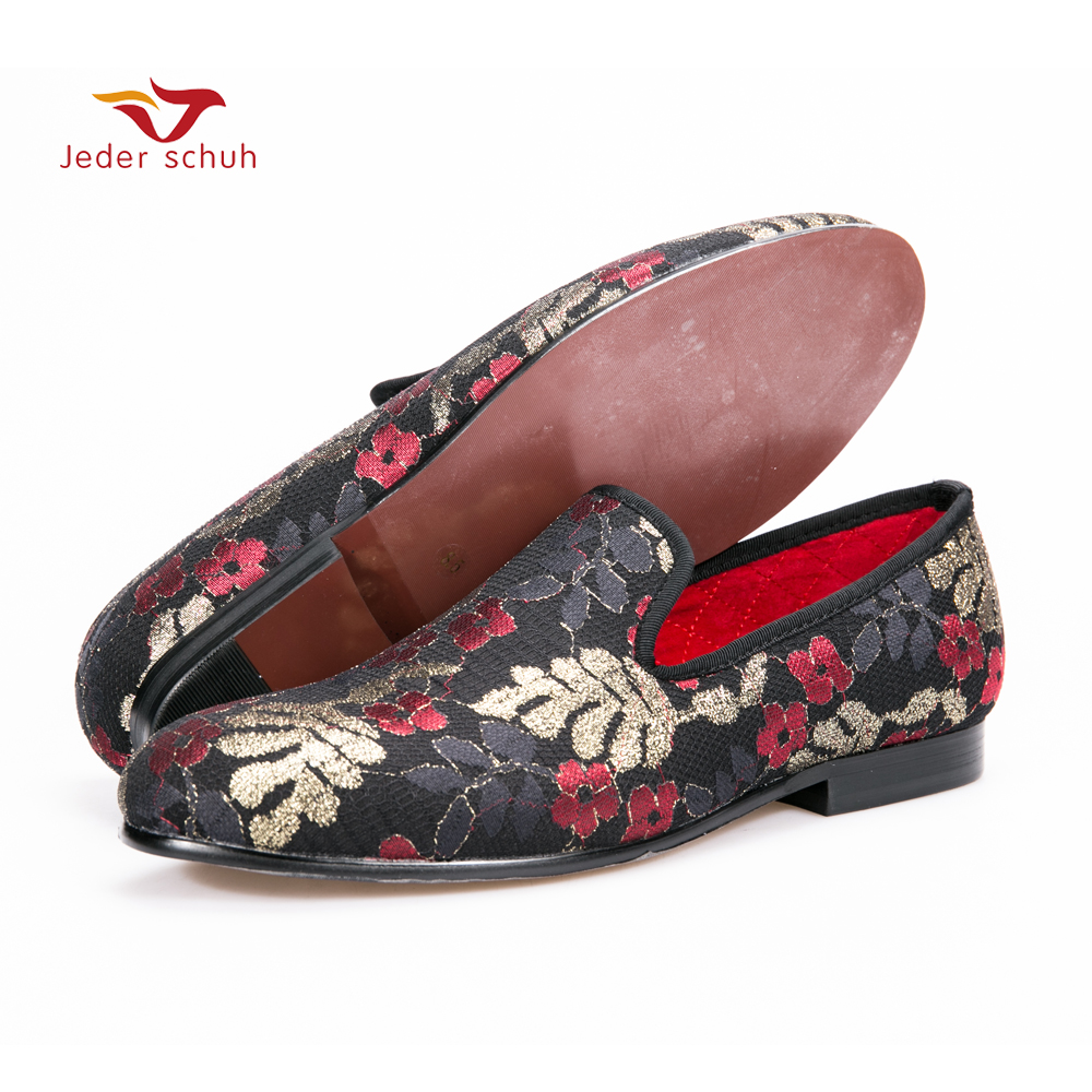 New sequined cloth printing men shoes Luxury and Fashion three color flower men loafers plus size men's flats size US 6-14