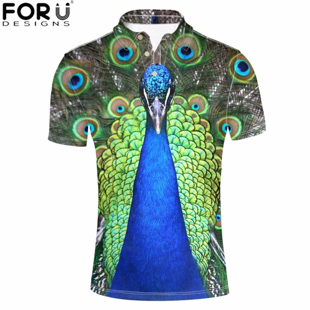 FORUDESIGNS Men Plus Shirts 3D Peacock Horse Tops Tees Animal Stand Collar   Polo   Shirt Men's Casual Harajuku Clothing Young Mens