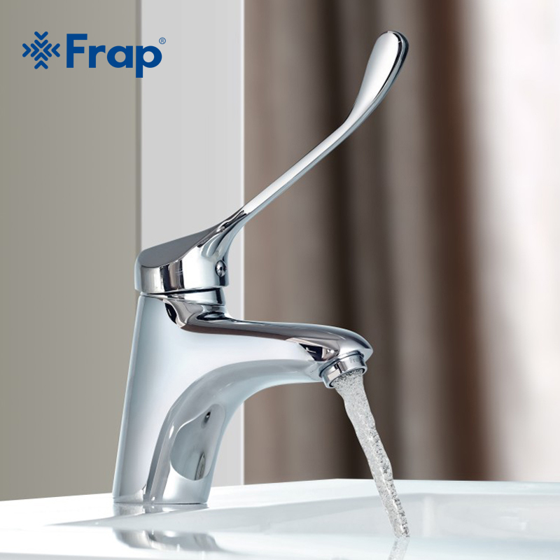Frap brass long handle bathroom basin faucet mixer tap - Long bathroom sink with two faucets ...