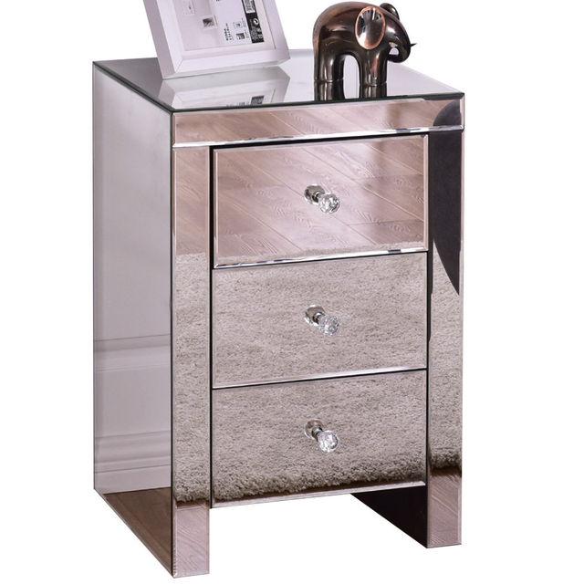 Giantex 3 Schublade Gespiegelt Nachttisch Hause Akzent Tisch Brust Kommode  Moderne Lagerung Silber Glas Schlafzimmer Möbel