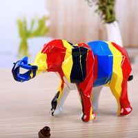 Decorações da sala de estar elefante estátua madehand pintado cavalo resina elefante escultura tabletop animal miniatura modelo 05578