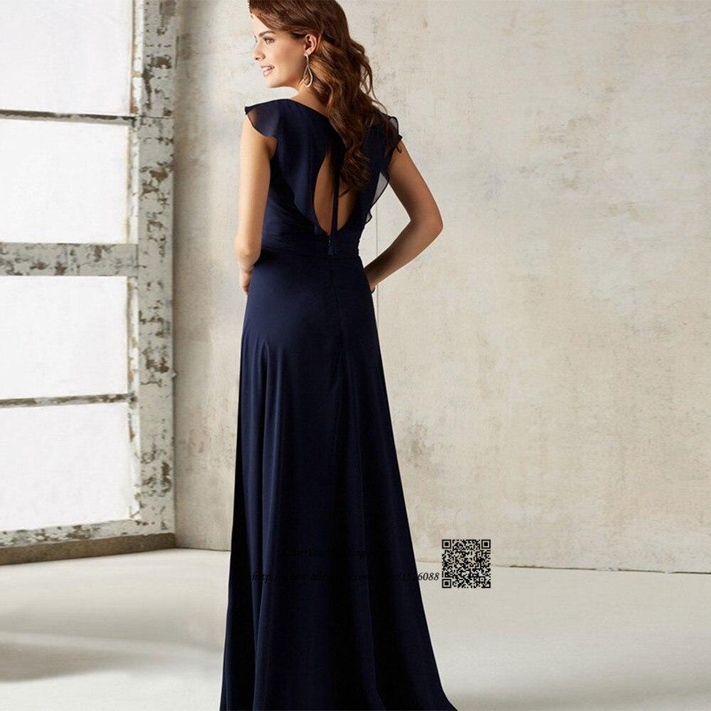 Cheap Navy Blue Bridesmaid Dresses Long Open Back Wedding Guest ...