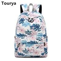 Tourya Fashion Waterproof Polyester Women Backpack Flower Printing Daily Laptop Rucksack School Bag Girl College Bagpack Mochila